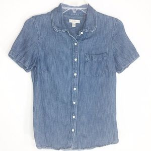 J. Crew Denim Chambray Top Linen Blend